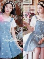 (11)Lady Ribbon's Made Denim Jumper Skirt, Cross Print