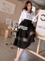 Lady Ribbon's Made Lady Jane Camellia Blouse with Midi Skirt