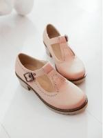 (Pre order)รองเท้าหุ้มส้นหนังเทียมสีชมพู ส้นสูง 1.5 นิ้ว