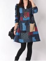 (Pre-order)ชุดเดรส ผ้าทอแบบผ้าป่าน สีตางรางแดง