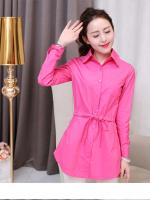 (Pre-order)เสื้อยาวคอปกสีชมพู