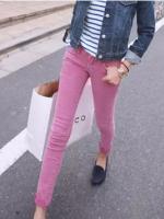 กางเกงยีนส์สกินนี่สีชมพูแนวๆ