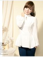 (Pre-order)เสื้อแขนยาวคอจีนสีขาว ฃายระบาย