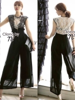 Cliona Made ,B&W Lace Shirt With Pants Set