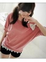 (พร้อมส่ง)เสื้อยืดผูกโบว์มี 2 สีชมพูอ่อน /เทา