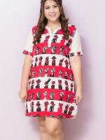 ชุดเดรสไซส์ใหญ่แขนสั้นผ้าชีฟองสีขาวแดงพิมพ์ลายผู้หญิงติดกระดุมด้านหน้า