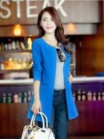 (Pre-order)เสื้อคลุมผ้าโพลีเอทเตอร์ เรียบหรู สวยแบบไฮโซค่ะ (สีน้ำเงิน)