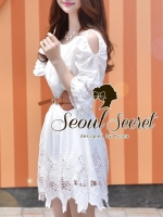 Korea Ivory-White Embroider Dress together with Brown Belt by Seoul Secret
