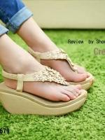 679) พร้อมส่ง รองเท้า Sponge เกรด A รัดส้น ดอกไม้ ประดับเกสรเพชร งานขายดี