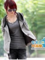 (Pre-order)เสื้อคลุมแขนยาวมี hood ผ้าสำลี อุ่นมากค่ะ พร๊อพเกาหลี เก๋มาก สีเทา