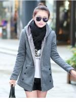 (Pre order)เสื้อกันหนาวมีหมวกบุขนมิ้ง(สีเทา)Gray (plus thick velvet)