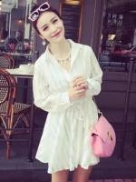 (Pre-order)เสื้อยาวกึ่งมินิเดรสสีขาว