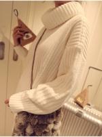 (Pre-order)เสื้อไหมพรมคอเต่า ถักไหมเส้นใหญ่ สีขาว