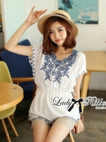️Lady Ribbon's Made Lady Melisa Sweet Baby Blue Garden Embroidered Mini Dress