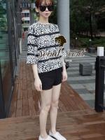 Korea Leopard Print Black Ribbon Layer Back Bow Tie by Seoul Secret