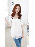 (Pre order)เสื้อแขนยาวแฟชั่นเกาหลีสีขาว