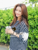 Stripy Cool Lace Sleeve Blouse by Seoul Secret