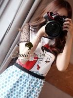 Snow White & Red Apple Sky Blue Dotty Print Dress by Seoul Scret