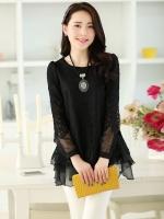 (Pre order)New Long Korean sweetเสื้อแขนยาว ระบายแขนโปร่ง สีดำ