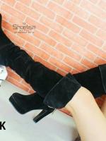 958) พร้อมส่ง!! Hi heel Boots กำมะหยี่ ซิปหลัง ซับในขนสั้น