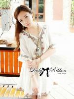 Lady Ribbon's Made Lady Amilee Polka Dot Sequin Kaftan Dress