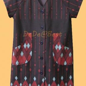 ขายแล้วค่ะ D41:Vintage dress เดรสวินเทจลายกราฟฟิค โทนน้ำตาล+ส้มแดงสีอิฐ(มีผ้าผูกเอว)&#x2764