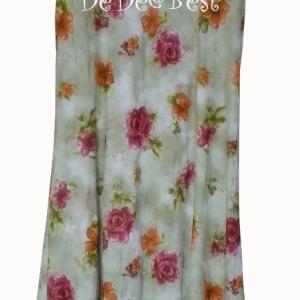 ขายแล้วค่ะ D44:Vintage dress เดรสวินเทจสีเขียวอ่อนลายดอกไม้&#x2764