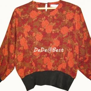 ขายแล้วค่ะ T37:Vintage top เสื้อวินเทจ ผ้าเล่นแสงเป็นโทนสีน้ำตาล,ส้ม,แดง ลายดอกไม้สวย ๆ&#x2764