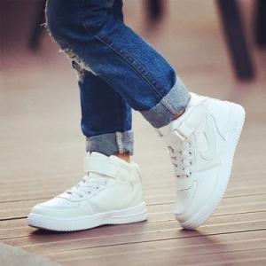 รองเท้าผ้าใบเด็ก รองเท้าหุ้มข้อ หนังสีขาว งานคุณภาพดีหนังเนื้อนื่ม มีไซส์ 33/20cm.