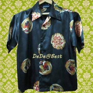 ขายแล้วค่ะ T41:Vintage top เสื้อวินเทจสีดำลายมังกร ปกเชิ้ต&#x2764