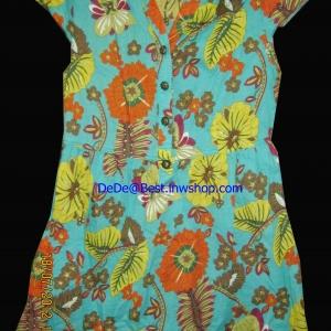 แถมให้คุณPumค่ะ T13:2nd hand top เสื้อสีเขียวลายดอกไม้สีแจ่ม ๆ ดูสดใส&#x2764