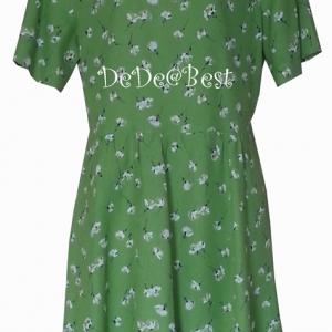 ขายแล้วค่ะ D44:Vintage dress เดรสวินเทจสีเขียวลายดอกไม้ (california)&#x2764