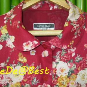 ขายแล้วค่ะ D38:Vintage dress เดรสวินเทจคอบัว สีแดงลายช่อดอกไม้&#x2764