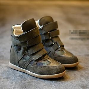 รองเท้าผ้าใบเด็ก แบบหุ้มข้อสูง สีเขียวทหาร ไซส์ 31 / 20.5cm