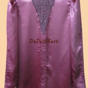 ขายแล้วค่ะ T31:Vintage top เสื้อวินเทจแขนยาวสีกุหลาบติดลูกไม้สวยหรูมากค่ะ&#x2764