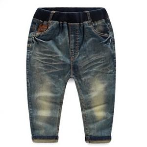 กางเกงยีนส์เด็ก ขายาว กระเป๋าด้านหลังแต่งหลังสีน้ำตาล ยีนส์สีนํ้าเงิน ไซส์ 110 / 140 / 150