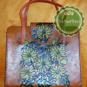 ขายแล้วค่ะ B28:Vintage leather bag กระเป๋าถือ หนังแท้สีส้ม ตอกลายดอกไม้&#x2764