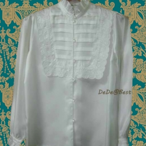 ขายแล้วค่ะ T39:Vintage top เสื้อวินเทจผ้าคล้ายไหมสีขาวนวล คอระบาย&#x2764