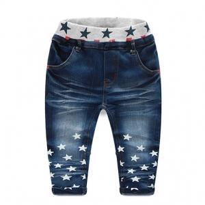 กางเกงยีนส์เด็ก ขายาว พิมพ์ลายดาวสีขาวช่วงปลายขา ยีนส์สีนํ้าเงิน ไซส์ 100 / 110 / 120 / 130 / 140 / 150