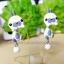 ต่างหูดินปั้น กระต่ายสีขาวแต้มเทา Bunny gray & white Earrings thumbnail 3