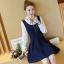 เดรสสั้นกระโปรงจีบสีน้ำเงิน แขนยาวสีขาว น่ารักสไตล์เกาหลี thumbnail 3