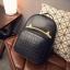 [ Pre-Order ] - กระเป๋าเป้แฟชั่น สไตล์เกาหลี สีดำคลาสสิค หนังอัดลายตารางด้านหน้า ดีไซน์สวยเก๋ไม่ซ้ำใคร งานหนังหนา มันเงาสวยมากค่ะ thumbnail 14