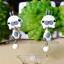 ต่างหูดินปั้น กระต่ายสีขาวแต้มเทา Bunny gray & white Earrings thumbnail 1