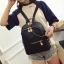 [ พร้อมส่ง HI-End ] - กระเป๋าเป้แฟชั่น สไตล์เกาหลี สีดำคลาสสิค ปักหมุดข้างสุดเก๋ ดีไซน์สวยเท่ๆ งานผ้าร่มไนลอนอย่างดี น้ำหนักเบา น่าใช้มากๆค่ะ thumbnail 3