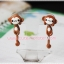 ต่างหูดินปั้น ลิงสีน้ำตาล Cute monkey Earrings thumbnail 1