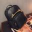 [ Pre-Order ] - กระเป๋าเป้แฟชั่น สไตล์เกาหลี สีดำคลาสสิค หนังอัดลายตารางด้านหน้า ดีไซน์สวยเก๋ไม่ซ้ำใคร งานหนังหนา มันเงาสวยมากค่ะ thumbnail 13