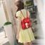 [ Pre-Order ] - กระเป๋าเป้แฟชั่น นำเข้าสไตล์เกาหลี สีแดงเข้ม แต่งหัวเข็มขัดช่องใส่ของด้านหน้า ดีไซน์สวยเก๋ ที่สาวๆ ไม่ควรพลาด thumbnail 6