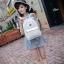 [ Pre-Order ] - กระเป๋าเป้แฟชั่น สไตล์เกาหลี สีขาวสะอาด ให้ลุคคุณหนู ฉลุลายดอกไม้ทั้งใบ ดีไซน์สวยหรู สาวหวานห้ามพลาด thumbnail 3