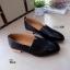K01 รองเท้าคัชชู หนัง pu แต่งให้ดู สีคลาสสิก ส้นตัดสีไม้ thumbnail 3
