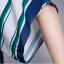 SET 2 ชิ้น เสื้อผ้าไซส์ใหญ่แขนล้ำผ้าชีฟองพิมพ์ลายทางน้ำเงินเขียว + กระโปรงผ้าชีฟองมีซับในเป็นกางเกง thumbnail 5